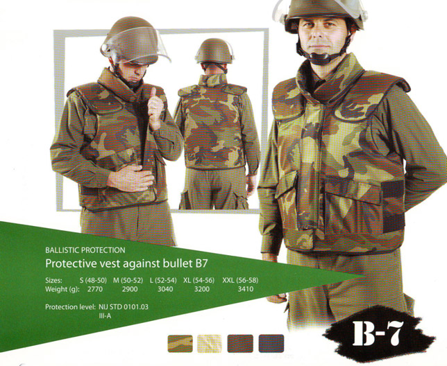 Protective vest against bullet B7