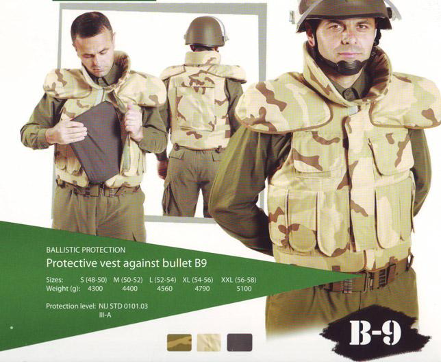 Protective vest against bullet B9