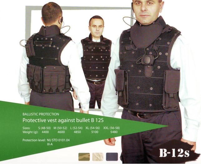 Protective vest against bullet B12S